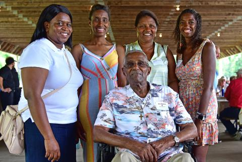 101-year-old retiree Joe Martins is pictured with his family at the O&G retiree picnic.