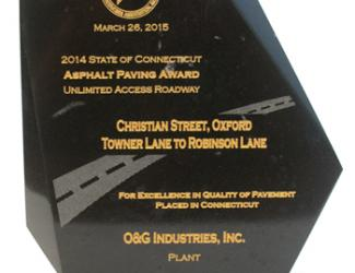 2014 Connecticut Asphalt & Aggregate Producers Association (CAAPA) Award in the Unlimited-Access Roadway category