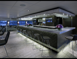 One of the new bar areas installed on the luxury yacht the Spirit of Boston.